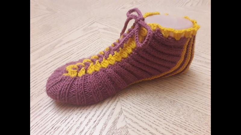Классные носки следки на двух спицах одним полотном без шва №5