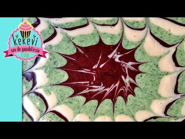 Турецкий мраморный бисквитный шпинатно-шоколадный кекс Üç Renkli Ebruli Kek - (Bir Sanat Eseri)