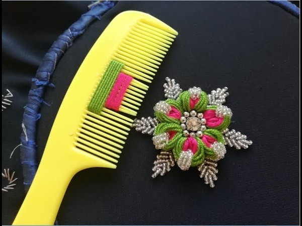Hand embroiderysewing hacks amazing simple trick for making flower with hair comb