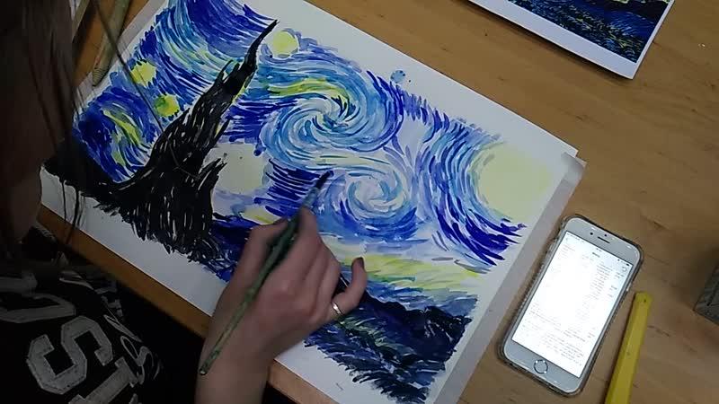 Рисуем копию картины Ван Гога Звёздное небо