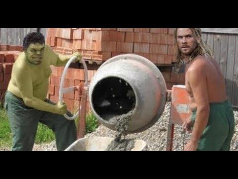 Лютые приколы. Халк и Тор работают на стройке!