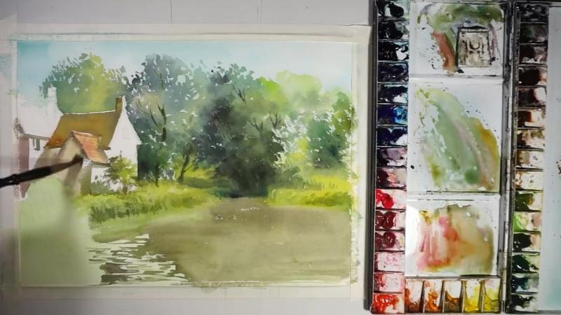 Дом на берегу тихого озера - Акварель. Пейзажная живопись