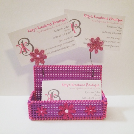 DYI Business Card Holder! Plastic Canvas Embroidery Floss - Super Easy