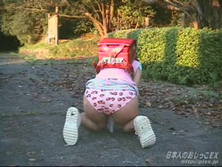Young japanese girl wetting her panties