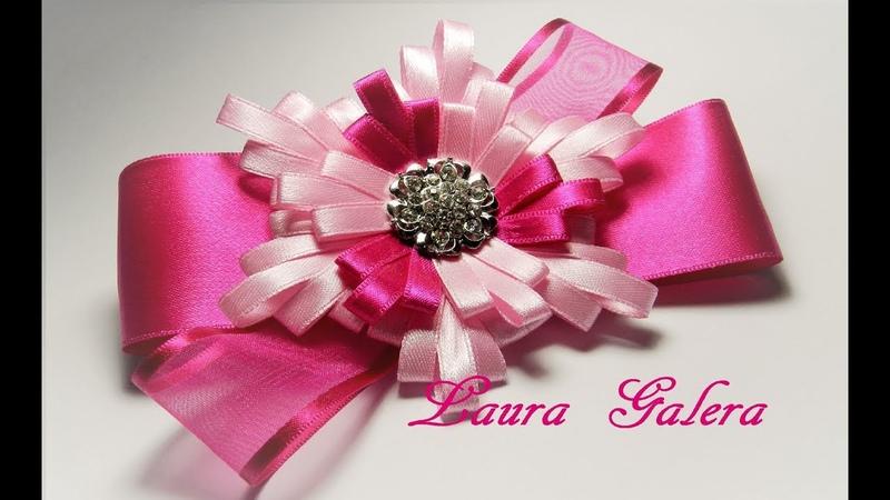 Moño con flor en cinta angosta Ribbon flower bow Laço de fita Детские Банты !!