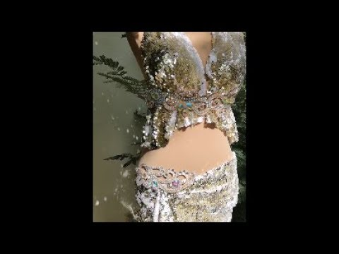 Silver shiny bra and belt. Belly dance costume by Sufel boutique. ベリーダンス衣装