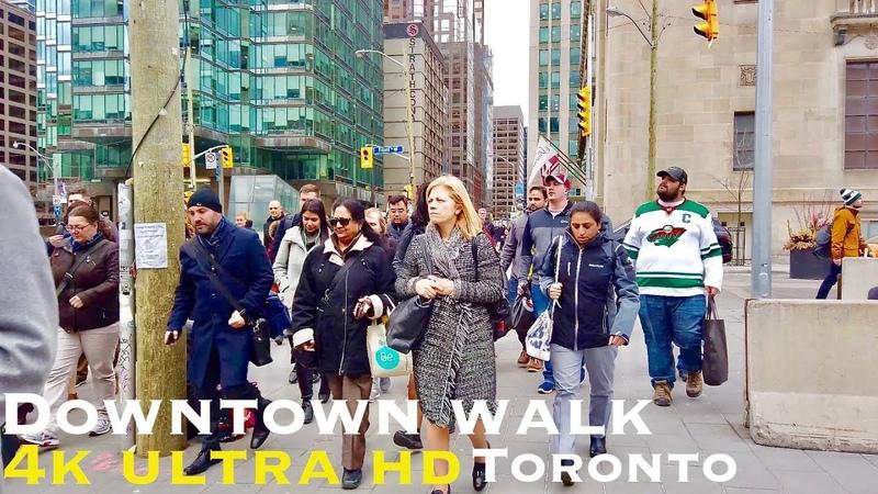 Downtown Toronto Walk Front St, Spadina Ave, Bremner Blvd walking tour 4k