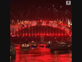 Sydney, Australia's fireworks actually counting down to the New Year and a beautiful display to follow.