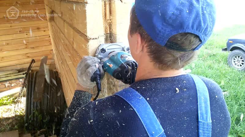 Как перед установкой окна делается обсадная коробка в черновых оконных проёмах в стене дома из клееного бруса