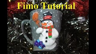 snowman polymer clay mug schneemann Fimo Tasse декор кружки полимерной глинойкружка полимерная глина