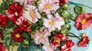 Cosmos flowers Art tapestries paintings - Космеи вышивка лентами - Silk Ribbon Embroidery Art