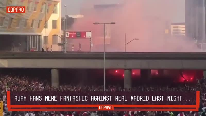 Their team may have lost but Ajax fans went all out for their match against Real Madrid last night...