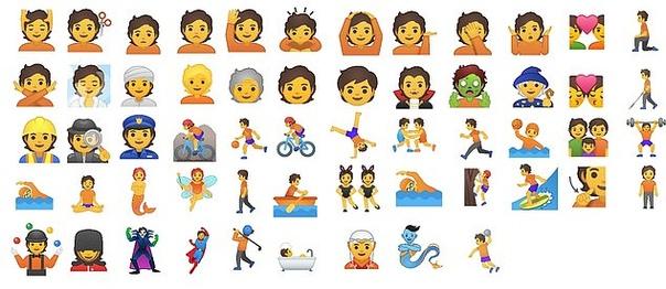 Google представил 53 гендерно-нейтральных эмодзи «Третий гендер» появится в эмодзи с профессиями, занятиями и персонажами. Дизайнеры Google разработали новые гендерно-нейтральные эмодзи. 53