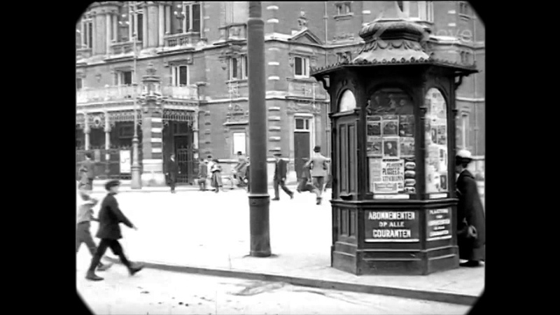 1920 - News Kiosk in Amsterdam (speed corrected w/ added sound)