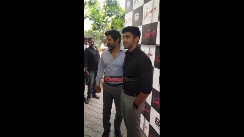 Chiyaan Vikram and Dhruv Vikram at the Varma Teaser launch