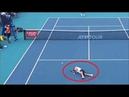Frightening moment rising tennis prospect Nicola Kuhn suffers total body cramp
