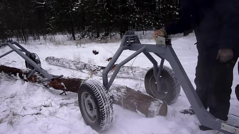 Тележка для перевозки бревен и металлопроката Лесопилов с лебедкой
