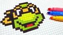 Handmade Pixel Art - How To Draw teenage mutant ninja turtle pixelart