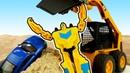 Трансформеры и гоночные машинки. Игры с кенитеческим песком. Видео на английском языке.