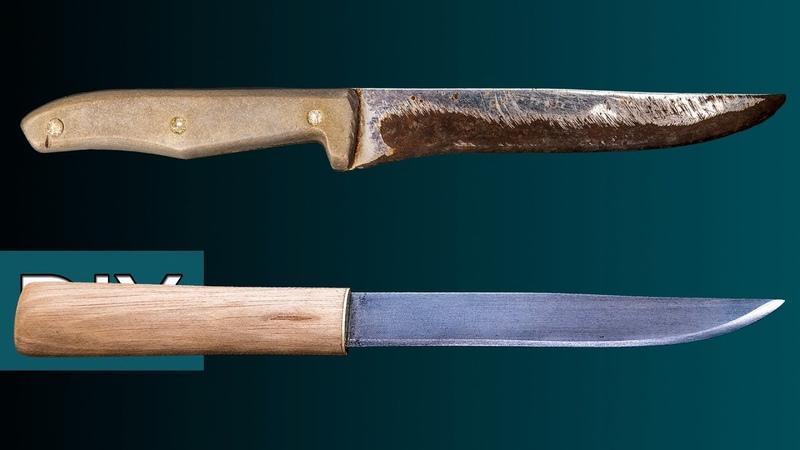 Как сделать Макири из старого кухонного ножа Реставрация заточка и травление Стройхак