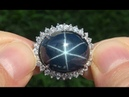 GIGANTIC Natural Blue Star Sapphire Diamond 14k White Gold Vintage Ring Up For Auction - A141662
