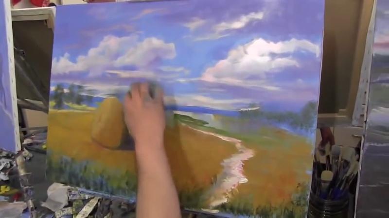 Пейзаж, пшеничное поле,Уроки для новичков живопись , Игорь Сахаров
