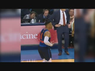 "Russ doing the ""rocking-the-baby"" celebration against fox? 😂"