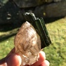 Tourmaline on a dt quartz floater from the cruzeiro mine, brazil