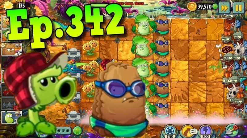 Plants vs. Zombies 2 || Primal Peashooter, Primal Wall-nut - Jurassic Marsh Day 11 (Ep.342)