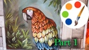 How to paint a macaw parrot by a flat brush part 1