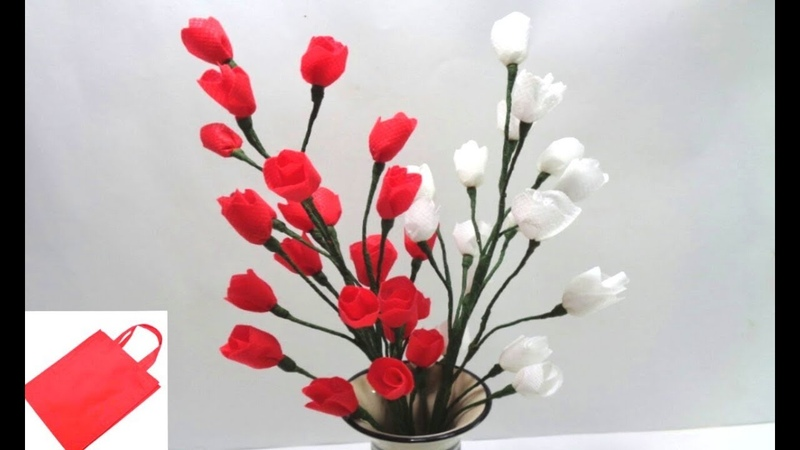 How to Make Shopping Bag Flower Bunch DIY Easy Flowers Making Idea Best out of Waste