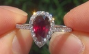 GIA Certified UNHEATED Natural VS1 Red Ruby Diamond 14k White Gold Estate Ring - C829