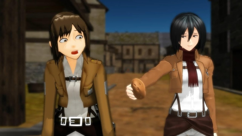 MMD SNK Sasha's on a Diet! Attack on Titan Shingeki No Kyojin funny meme animation
