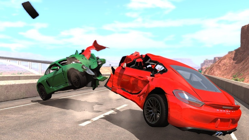 Porsche Cayman GT4 Crash Testing - BeamNG Drive Real Car Mod
