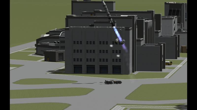 Пуски ракет Ramiel по вражеским целям, KSC, 5000-какой-то-там-год, видеозапись в цвете.