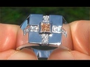 Certified Jewelry Graff Men's Natural Fancy Color Diamond 14k White Gold Gents Ring