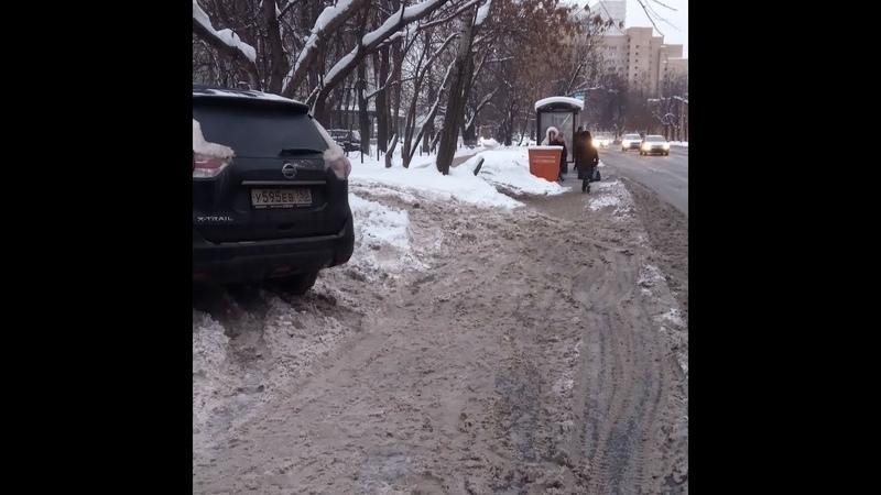 Приложение Помощник Москвы,на газоне (зимой)