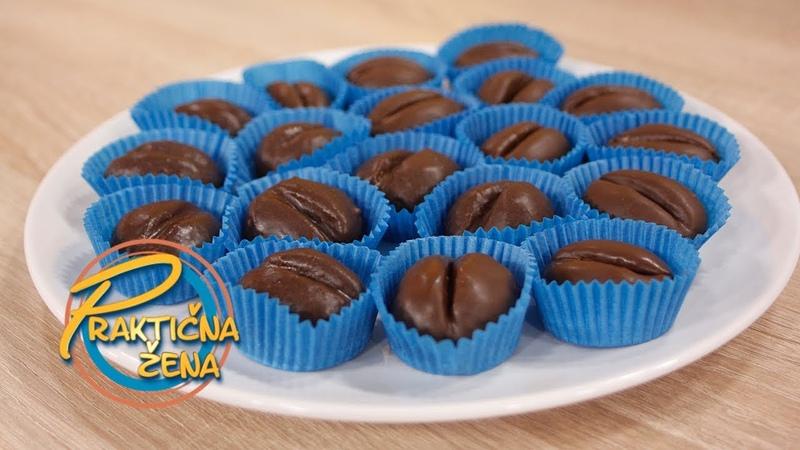 Сербские шоколадные пирожные Кофейные зерна с печеньем, орехами, шоколадом, апельсиновым соком и цедрой, кофем, шоколадной глазурью Praktična žena - Zrna kafe