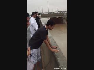Heavy rain and flash flood in Riyadh Saudi Arabia