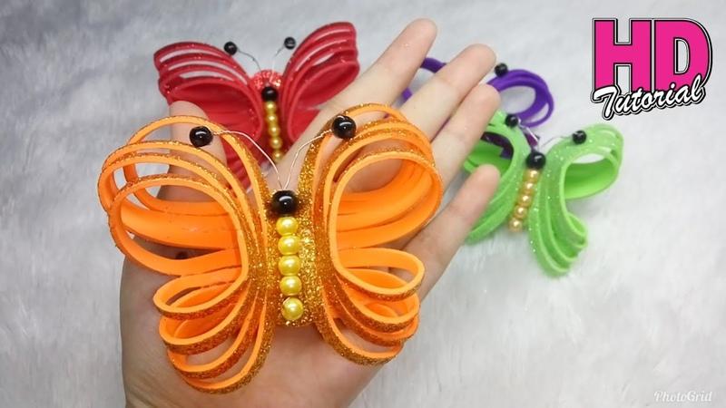 DIY - Cara Membuat Kupu-Kupu Dari Busa Glitter || Butterfly || Handmade Ornaments Glitter Foam
