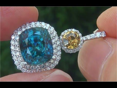 GIA Certified Natural VVS Blue Zircon, Yellow Sapphire Diamond PLATINUM Estate Earrings - C788