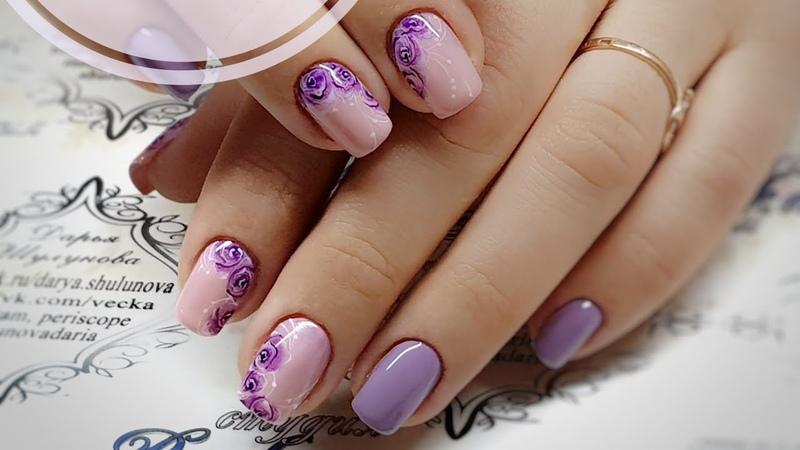 Простой и быстрый дизайн ногтей Акварельные розы