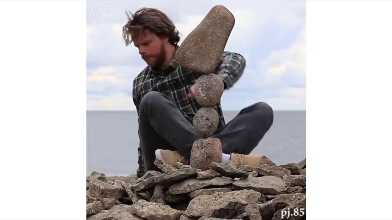 Rock Balancing Land Art by Pontus Jansson