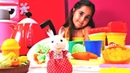 PLay Doh oyunu. Village Story tavşancık yavrularına yemek hazırlıyor