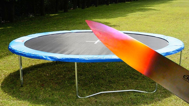 EXPERIMENT Glowing 1000 degree KNIFE vs TRAMPOLINE