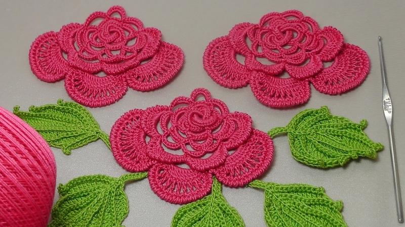 Вязание РОЗЫ для ирландского кружева. Вязание на бурдоне. Rose Crochet