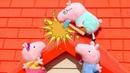 Peppa Pig çizgi film oyuncakları Baba Domuz çatıyı tamir ediyor