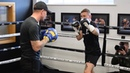 AND THE NEW? CARL FRAMPTON HAMMERS THE PADS WITH COACH JAMIE MOORE / WARRINGTON v FRAMPTON