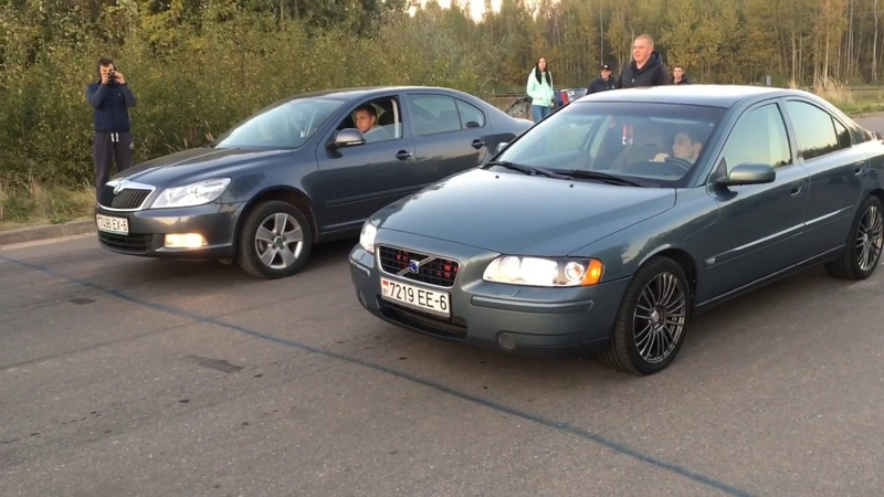 Skoda Octavia vs Volvo S60, Opel Omega, BMW E39. ШКОДА ОКТАВИА против... кто кого ? BMW E30=дым.