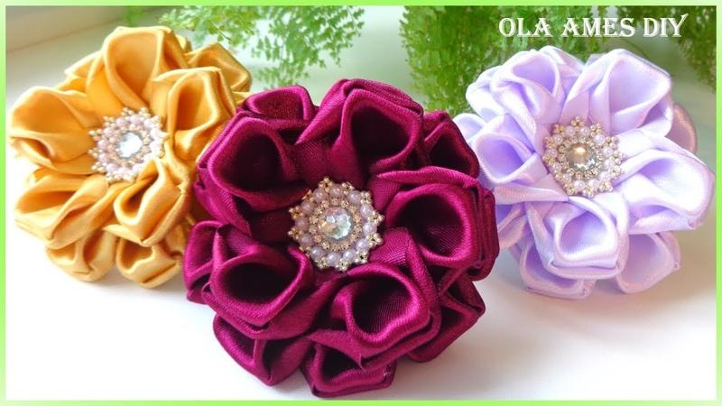 Канзаши Цветы из атласной ленты DIY Satin Ribbon Flower Flor de Fita de setim Ola ameS DIY